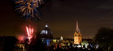 Oxford skyline illuminated with fireworks